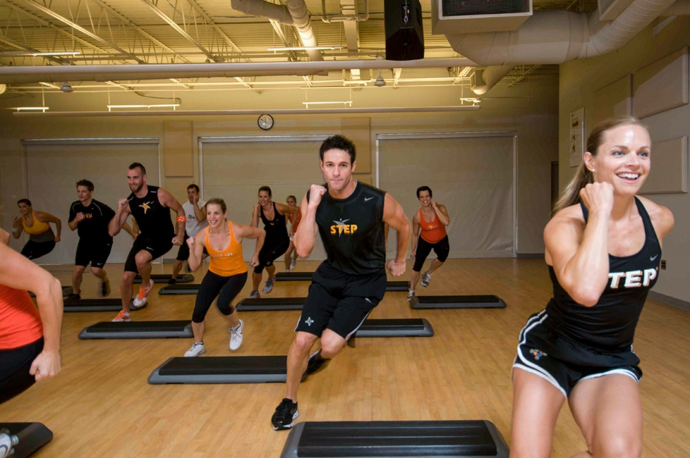 Group blast is an unequaled cardio workout using the step.