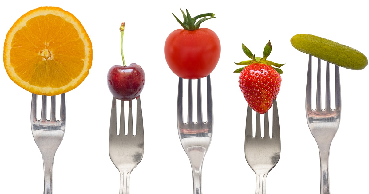 Colorful food on fork tips
