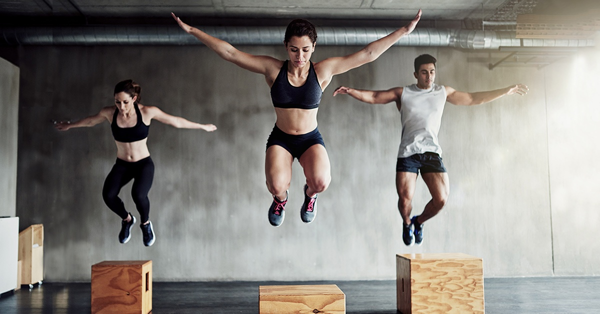 HIIT Jumping up on wood boxes