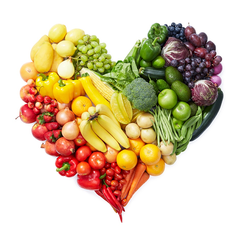food in rainbow colors in shape of heart