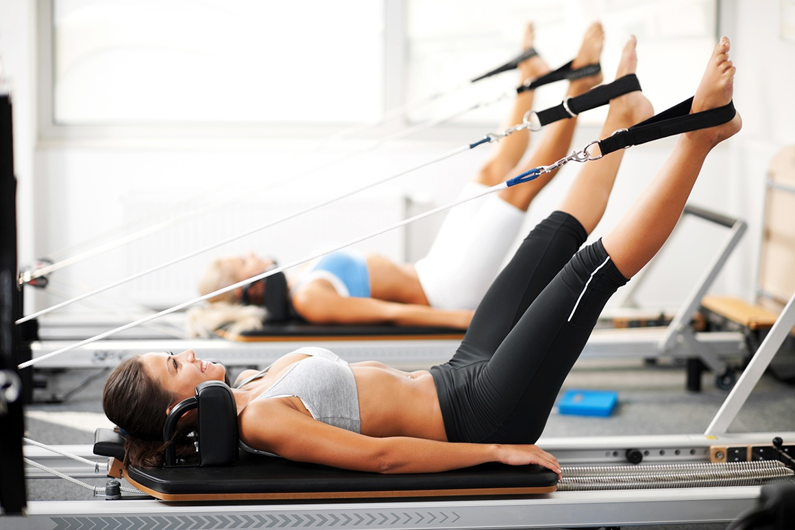 Pilates reformer works on the powerhouse muscles.
