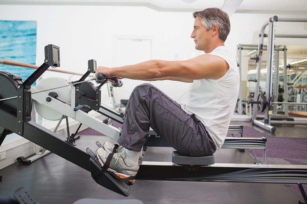 Rowing machines exercise almost all areas of the body at once.