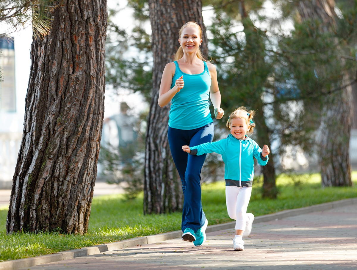 Mom and daughter jogging