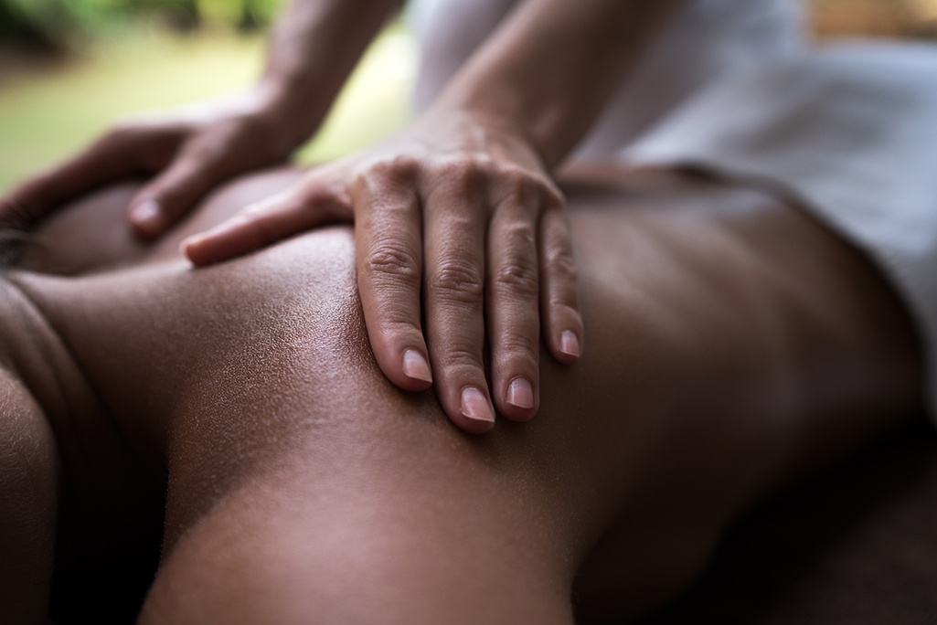 Woman getting a massage. The Spa at Cornerstone offers a wide array of massages by experienced massage therapists.